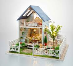 nordic holiday euro style large diy doll house 3d miniature light