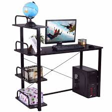 Office Desk Shelves Goplus 4 Tiers Computer Desk Wood Laptop Writing Table With