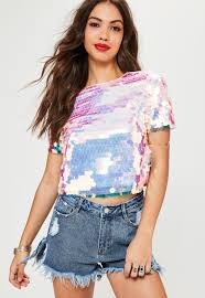pink sequin top missguided