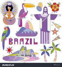 vector illustration brazil symbols travel concept stock vector
