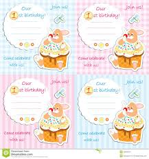 Baby First Birthday Invitation Card Baby In One Birthday Invitation Card For Baby Shower Stock