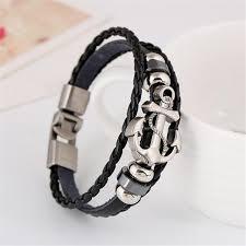 anchor bracelet black leather images Black vintage leather anchor bracelet heavenly divine jpg