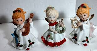 Home Interior Angel Figurines Lot Of 3 Vintage Homco Christmas Angels With Instruments