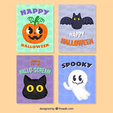 lovely pack of halloween cards vector free download