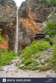 rinka waterfall logar valley slovenia stock photo royalty free