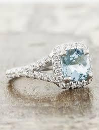 aquamarine and diamond ring suresha halo cushion cut aquamarine engagement ring ken