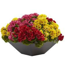 Geranium by Nearly Natural Geranium With Black Planter Uv Resistant Indoor