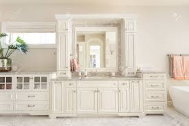 bathroom interior in new luxury home vanity sink and mirror