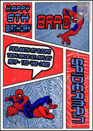 personalized spiderman comic book red and blue birthday part