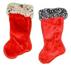 amazon com set of 2 plush animal print christmas stockings