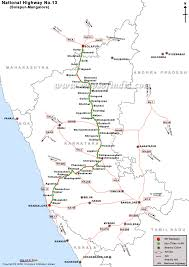 Driving Map National Highway 13 Road Map Solapur To Mangalore