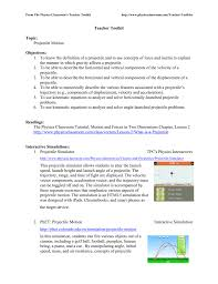 teacher toolkit topic projectile motion