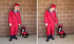 dog graduation cap and gown student and service dog graduate high school together in matching