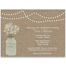 wedding shower invitations bridal shower invitations burlap jar flowers