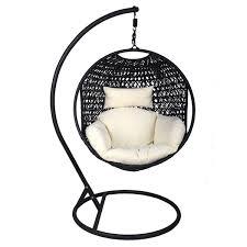 Swinging Ball Chair Charles Bentley Black Rattan Pod Swing Chair With Cream Cushion