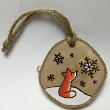 fox ornament handmade wood burned by timmythewoodman