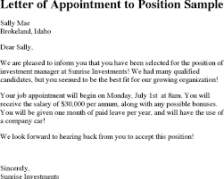 download letter of appointment to position sample for free tidyform
