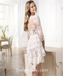 casual wedding dresses with sleeves informal casual modern high low sleeve lace wedding dress
