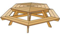 Free Woodworking Plans For Beginners by Hexagonal Picnic Table Project Imperial Dimensions