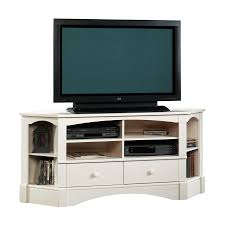 home theater stand shop sauder harbor view antiqued white tv stand at lowes com
