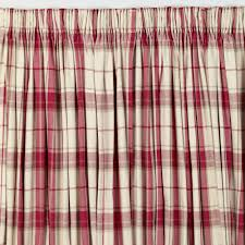 Pink Tartan Curtains Highland Check Cranberry Pencil Pleat Ready Made Curtains