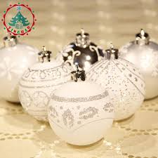 Theme Ornaments Inhoo Silver White Theme Pack Ornaments For Tree 6cm Decor