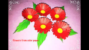 making of flowers with color papers origami easy flower making