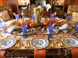 rustic orange and blue thanksgiving tablescape