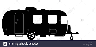 a large luxury caravan silhouette isolated on a white background