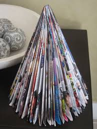recycled christmas tree from a magazine only folding involved