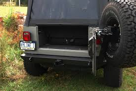 jeep rear bumper with tire carrier jeep tj yj rear swingout tire carrier assembly hyline offroad