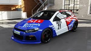 volkswagen race car vw scirocco domino u0027s pizza race paint booth forza motorsport