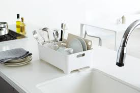 Dish Drying Rack For Sink Kitchen Design Grey Countertops Sink Faucets White Stylish Modern