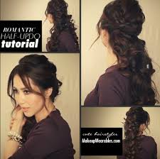 how to updo hairstyles for medium length hair easy fancy looking curly half up hairstyle long hair tutorial video