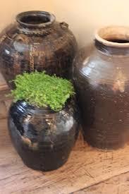 set of three glazed terracotta pots ceramics
