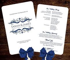 Diy Wedding Fan Programs Wedding Fan Program Printable Navy Instant Download Sarah Design