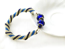beaded rope bracelet images Blue gold beads rope bracelet with glass beaded bangle bracelet jpg