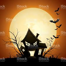spooky cemetery clipart cartoon of a silhouette of a scary haunted house with bats stock