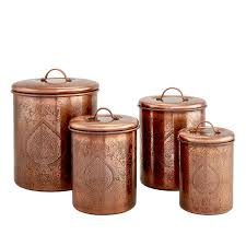 copper kitchen canisters antiqued copper kitchen canisters set of