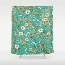teal botanical society6 decor buyart shower curtain by 83