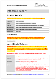 report template progress report template tools4dev