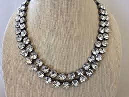 necklace stone setting images 3 strand crystal bridal statement necklace 8mm the crystal rose jpeg