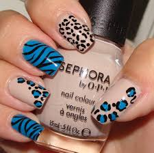 nails beige and blue mixup mani leopard and zebra nails