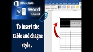 Change Table Style Word To Insert Table And Change Table Style In Word 2016