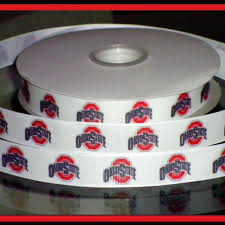 ohio state ribbon 7 8 inch custom made ohio state buckeyes grosgrain or satin ribbon