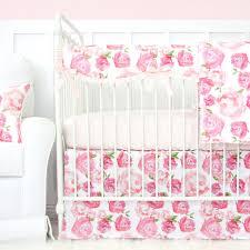 light pink crib bedding harlow s watercolor rose bumperless crib bedding caden lane