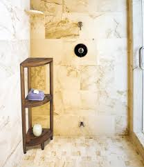 Teak Shower Bench Corner Corner Dark Wooden Shower Caddy Combined Smoky Brown Marble Wall