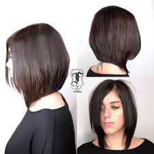 angled layered medium length haircuts women s chic long angled bob with layers and brunette color medium