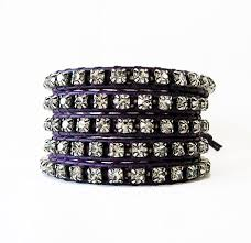 leather rhinestone bracelet images Purple leather rhinestone wrap bracelet onsra designer bracelets jpg