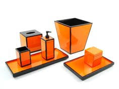 orange and black lacquer bathroom accessories set lacquer and